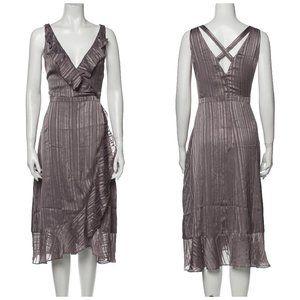 AVEC LES FILLES Striped Metallic Ruffle Hem Dress